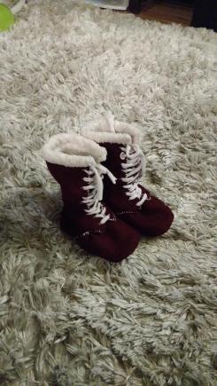 Melton wool baby booties!